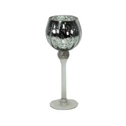 Windlicht auf Fuß mit Strass edel im Kristallglas-Look 30 cm