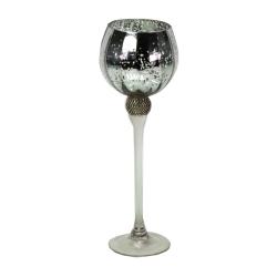 Windlicht auf Fuß mit Strass edel im Kristallglas-Look 35 cm