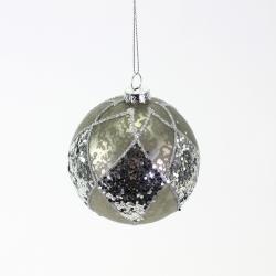 Weihnachtskugel antik silber mit Glimmer