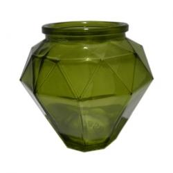 Diamantförmiges Windlicht aus grünem Glas