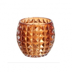ANJA Teelichthalter mit Kristallglasmuster orange