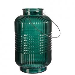 ANJA Laterne aus Glas in grün Größe L