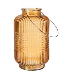 ANJA Laterne aus Glas orange Größe L