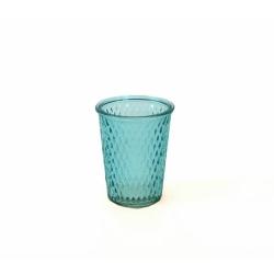 Glaswindlicht mit Rautenmuster in hellblau 12,5 cm