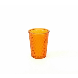 Glaswindlicht mit Rautenmuster in Orange 12,5 cm