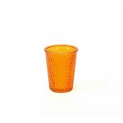 Glaswindlicht mit Rautenmuster in Orange 12,5 cm