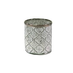 Glaswindlicht in weiß mit Metallrand 10x11 cm