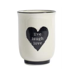 Becher live,laugh,love mit Herzmotiv von NORDAL