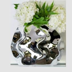 Vase Floris 1 aus Keramik silber klein abstraktes Design