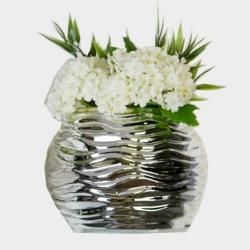 Vase Floris 3 aus Keramik silber klein Rillen-Design