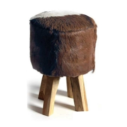Fell-Hocker Kleiner Beistell-Hocker aus Holz und Fell