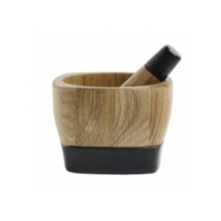Mörser und Stößel von Nordal Holz Eiche Silikonbesatz robust