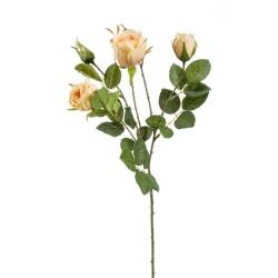 Kunstblume Rose Peggy pfirsichfarben Zweig mit 3 Blüten und Knospe