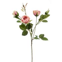 Kunstblume Rose Peggy hell rosa Zweig mit 3 Blüten und Knospe