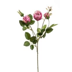 Kunstblume Rose Peggy pink rosa Zweig mit 3 Blüten und Knospe