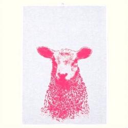 Geschirrtuch von Frohstoff aus Halbleinen in weiß mit Schaf in neonpink