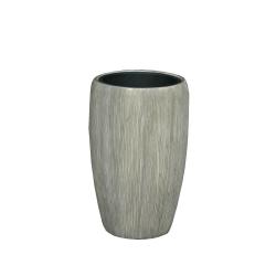 Pflanzgefäß Vase Leichtgefäß outdoor braungrau Rillen H 51 cm