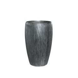 Pflanzgefäß Vase Leichtgefäß outdoor anthrazit Rillen H 51 cm