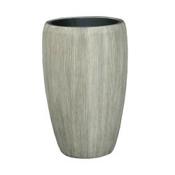 Pflanzgefäß Vase Leichtgefäß outdoor braungrau Rillen H 68 cm