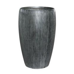Pflanzgefäß Vase Leichtgefäß outdoor anthrazit Rillen H 68 cm