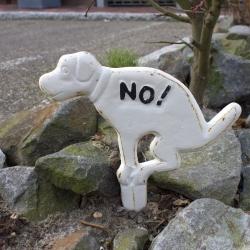 Hunde-Verbotsschild Kein Hundeklo Einstecker Hundehaufen a. Gusseisen weiß