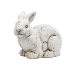 Massiver Hase a. Keramik Osterhase Deko Hase Osterdekoration 14,5 cm weiß