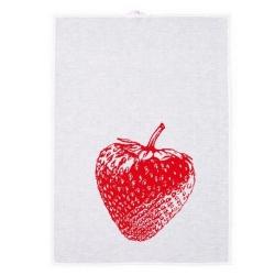 Geschirrtuch von Frohstoff aus Halbleinen in weiß mit Erdbeerprint in rot