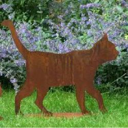 Gartenfigur Katze Edelrost Höhe 50 cm