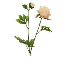 Kunstblume Pfingstrose hell rosa Zweig mit 1 Blüte und Knospe
