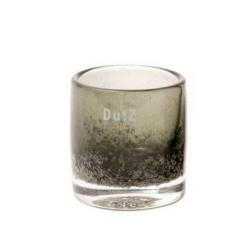 Dutz Cylinder Olive Bubbles H 10 cm D 9 cm, Luftblasen graues Glas