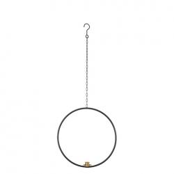 Kerzenhalter Axel aus Metall zum Aufhängen schwarz rund